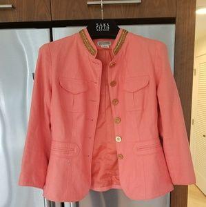 Michael Kors Linen Jeweled Jacket